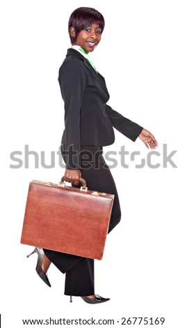 sexy african american  businesswoman with suitcase - stock photo