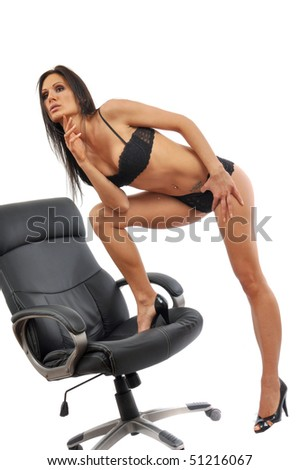 Sexy, attractive, young woman in seductive pose - stock photo