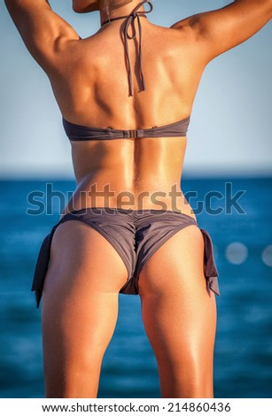 Sexy back of a beautiful woman in bikini on sea background