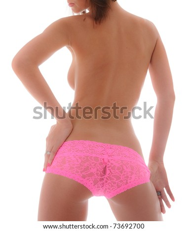 Sexy Backside with Pink Boy Shorts Lingerie - stock photo