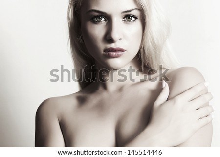 sexy beautiful blond woman with bright lips - stock photo