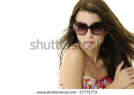 Sexy beautiful girl wears sunglasses. - stock photo
