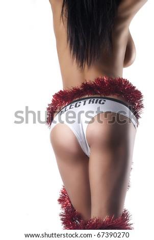 sexy beautiful lady chrismas edition - stock photo