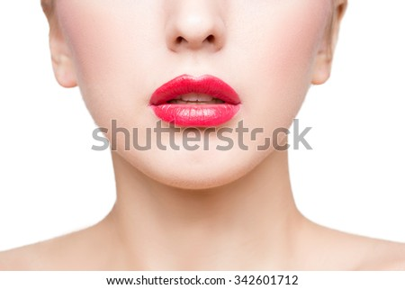 Sexy beautiful red lips isolated on white background. close-up