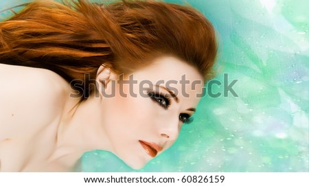 Sexy beautiful woman with red hair - stock photo