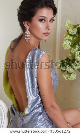 Beautiful Sexy Young Brunette Woman Evening Stock Photo