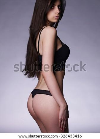sexy beautiful young woman in underwear.latin Sexy girl - stock photo