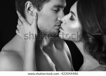 Gradually. brunette kissing black man