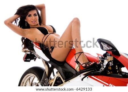 Sexy biker chick. - stock photo