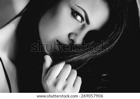 Sexy black and white portrait of a woman - stock photo