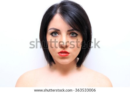 Sexy black short hair style female model  - stock photo