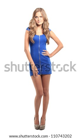 Sexy blond lady in blue dress isolated on white - stock photo