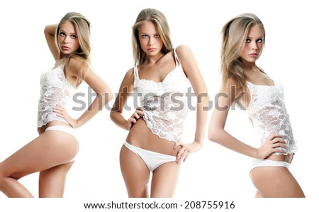 Sexy blond women in white lingerie  - stock photo