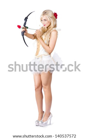 Sexy blonde cupid in high heels shooting a red rose arrow, isolated - stock photo