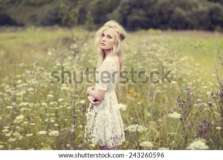 sexy blonde in the spring - stock photo