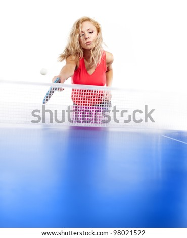 Sexy blonde  with  blue  ping pong racke tplaying