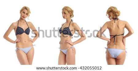 Sexy blonde woman wearing dotted swimwear isolated - stock photo