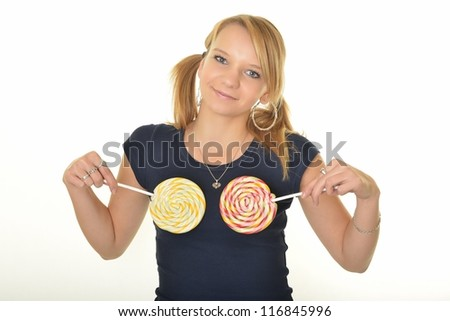 sexy blonde woman with a lollipop, isolated against white - stock photo