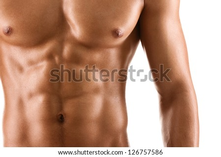 Sexy body of nude muscular man, isolated on white - stock photo