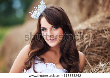 sexy bride with crown close up portret - stock photo