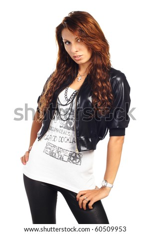 sexy brunet woman posing in jacket isolated - stock photo