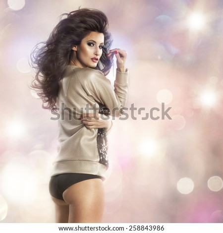 Sexy brunette beautiful woman posing in shirt and panties - stock photo