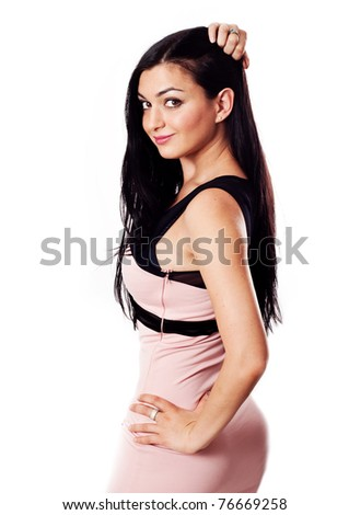 Sexy brunette in pink dress - stock photo