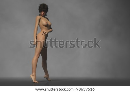 sexy brunette naked model in erotic pose isolated - stock photo