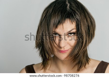 Sexy brunette with tousled hair