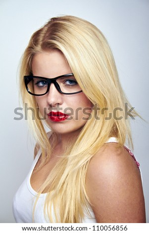 sexy business girl with large glasses - stock photo