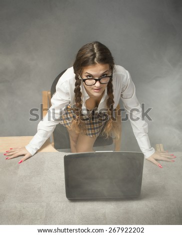 sexy business woman with notebook - stock photo