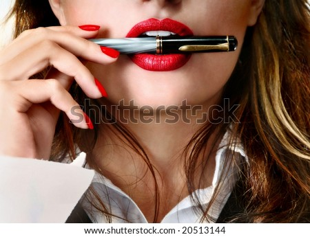 Sexy businesswoman teacher student woman girl holding a pen in her mouth red lipstick lipgloss makeup
