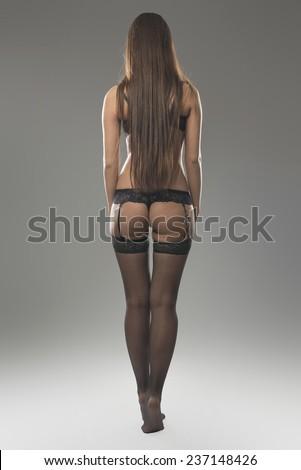 sexy butt girl in underwear - stock photo
