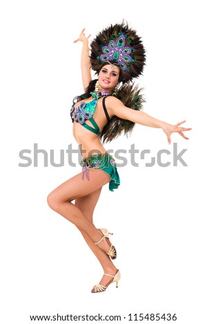 Sexy carnival dancer posing against isolated white background - stock photo