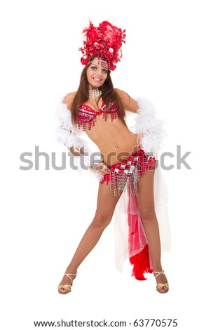 Sexy carnival dancer posing against isolated white background
