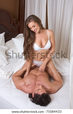 Sexy Caucasian couple in love sexual games and sex - stock photo