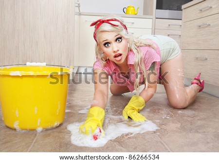 Sexy cleaning lady - stock photo
