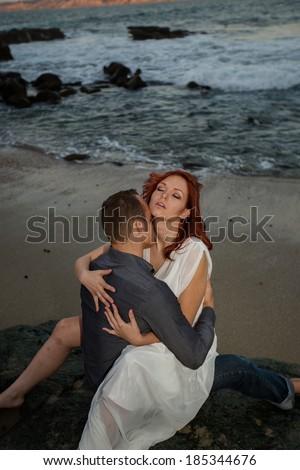 Sexy Couple at Beach - stock photo