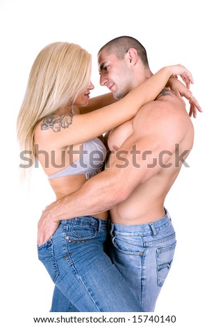 Sexy couple hugging - stock photo