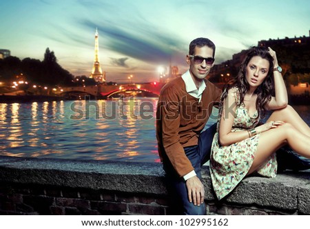 Sexy couple in Paris - stock photo
