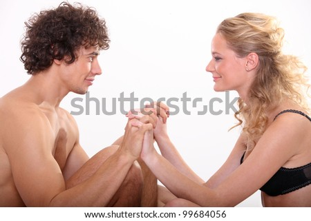 sexy couple isolated on white - stock photo