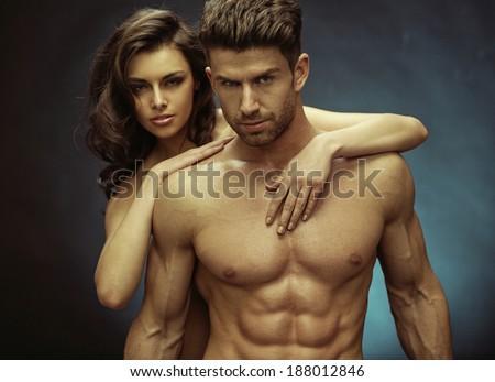 Sexy couple portrait - stock photo