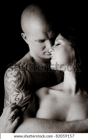 Sexy Couple touching and embracing each other - stock photo