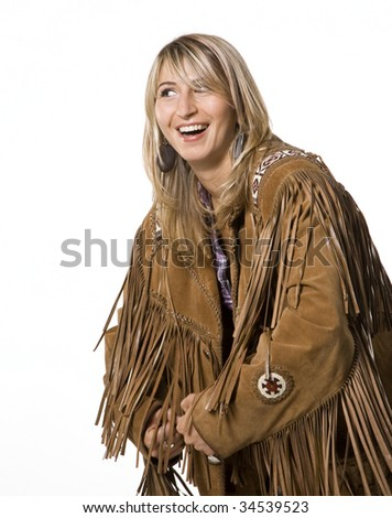 Sexy cow girl with indian lether jacket - stock photo