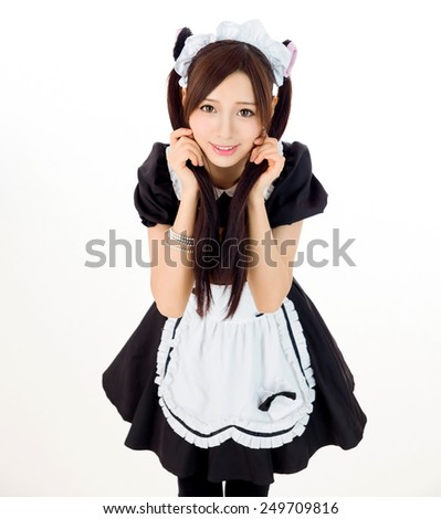 sexy  cute girl maid japanese style - stock photo