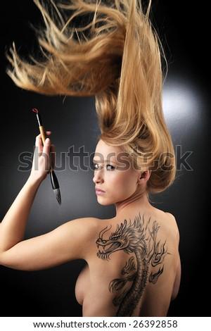 sexy dragon girl - stock photo