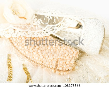 Sexy fashionable shoes, golden jewelry and handbag isolated on white background