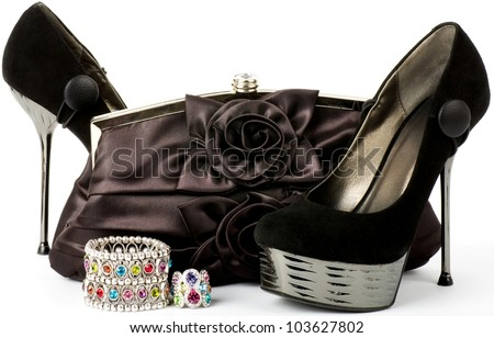 Sexy fashionable shoes, handbag and jewelry isolated on white background. - stock photo