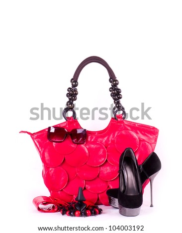 Sexy fashionable shoes, handbag and sunglasses isolated on white background. - stock photo