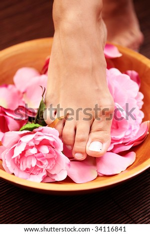 sexy female feet with bowl of flowers - beauty treatment